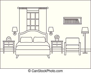 Bedroom interior. Hotel room with double bed. Vector illustration.