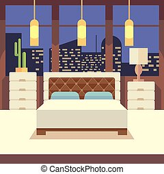 Bedroom interior in flat design style. Vector illustration