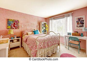 Bedroom interior in light pink color - Cozy bedroom interior...