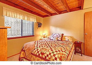 Bedroom interior in lob cabin house