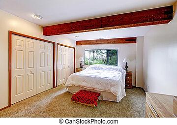 Bedroom interior in log cabin house
