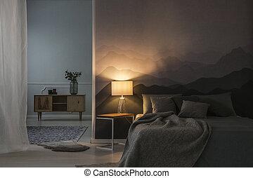 Bedroom interior in the night