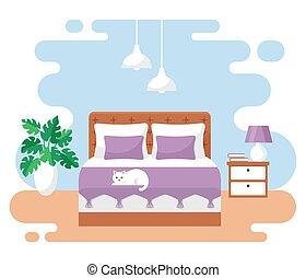 Bedroom interior. Vector illustration.