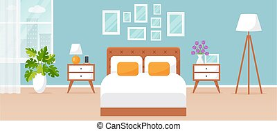 Bedroom interior. Vector illustration with double bed. Flat design.