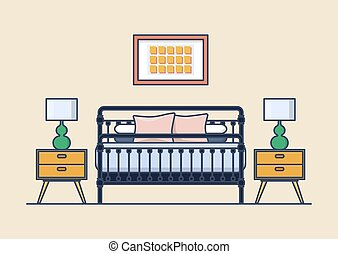Bedroom interior with bed and nightstand, lamp