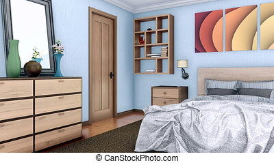 Bedroom interior with double bed 3D animation