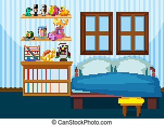 Bedroom interior with furniture in blue color theme