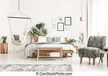 Bedroom interior with hammock