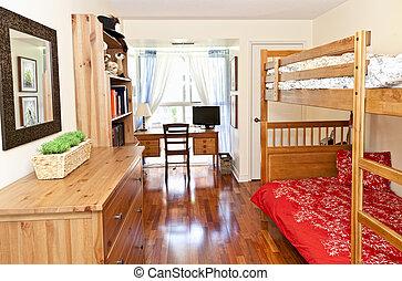 Bedroom interior with hardwood floor