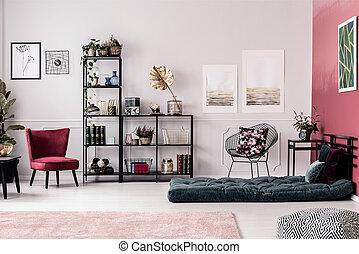 Bedroom interior with shelf