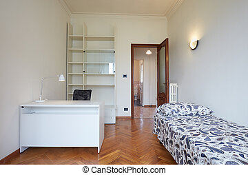 Bedroom interior with single bed in normal apartment