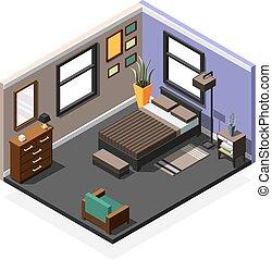 Bedroom Isometric Interior Composition
