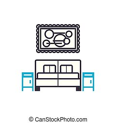 Bedroom linear icon concept. Bedroom line vector sign,...