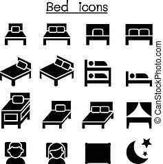 Bedroom & Mattress icon set