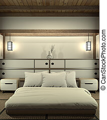 Bedroom modern zen interior design with decoration japanese style.3D rendering