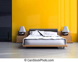 Bedroom in modern style 3d rendering