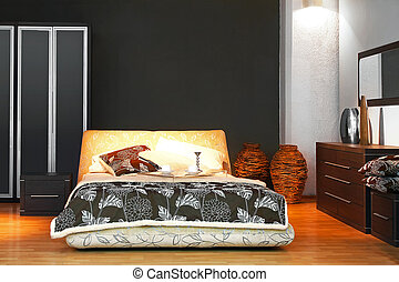 Bedroom - Interior of modern bedroom with double bed