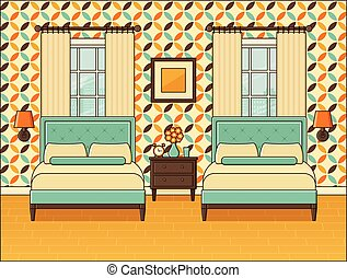 Bedroom retro interior. Hotel room in flat design. Vector illustration.