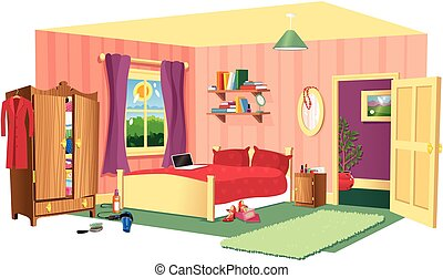 Bedroom scene - A cutaway illustration of a typical bedroom ...