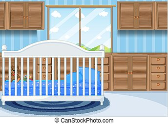 Bedroom scene with blue bed