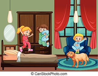 Bedroom scene with kid at slumber party illustration