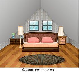 Bedroom scene with wooden floor