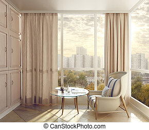 Bedroom seating area in sunlight with views of the city. 3d...