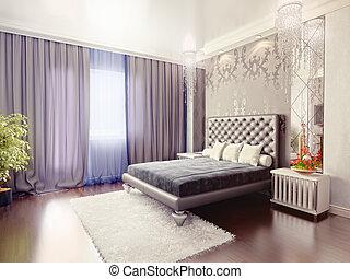 bedroom - modern luxury  bedroom interior (3D rendering)