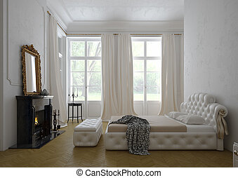 bedroom with fireplace, 3D RENDERING