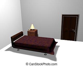 Bedroom three-dimensional graphics work
