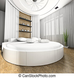 Sleeping room with a round bed 3d image