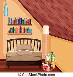 Bedroom with bed and bookshelves illustration