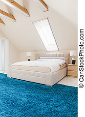 Bedroom with blue carpet - White modern bedroom with soft...