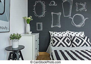 Bedroom with chalkboard wall - Modern bedroom with ...