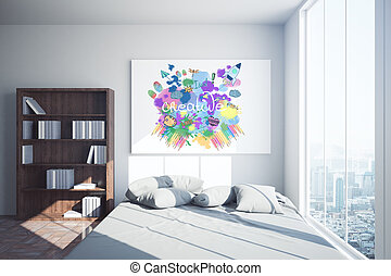 Bedroom with creative sketch