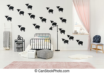 Bedroom with sheep wall stickers