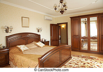 Bedroom with the conditioner in modern hotel