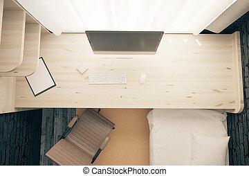 Bedroom workplace topview
