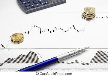 bedrukt, forex, groeiende, tabel, met, geld, winst