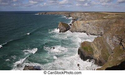 Bedruthan Steps Cornwall England UK Cornish north coast near...