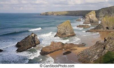 Bedruthan Steps North Cornwall UK - Carnewas and Bedruthan...