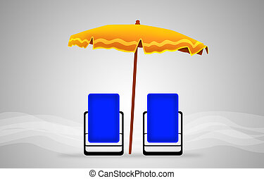 beds and umbrella on a beach