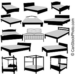 beds collection - illustrated beds set