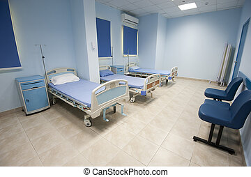 Beds in a hospital ward