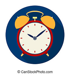 Bedside clock icon in flat style isolated on white background. Sleep and rest symbol stock bitmap, raster illustration.