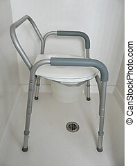 Bedside commode that can also be used as a raised toilet seat over a traditional toilet or as a shower chair.