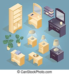 Bedside, shelf, mirror, flowerpot and lamp isometric icon.