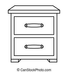 Bedside table clipart  Bedside table icon in outline style isolated on white... vector ...