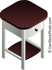 Bedside table icon, isometric style