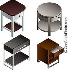 Bedside table icon set, isometric style